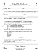 End Of Life Worksheet Planner