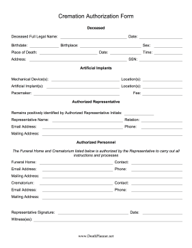 Cremation Authorization Form Final Directive