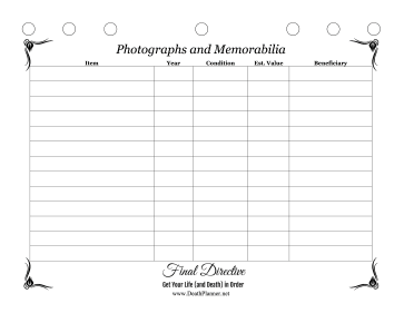 Memorabilia Worksheet Final Directive